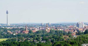 Panorama von Fürth und Nürnberg mit Fernsehturm bei blauen Himmel